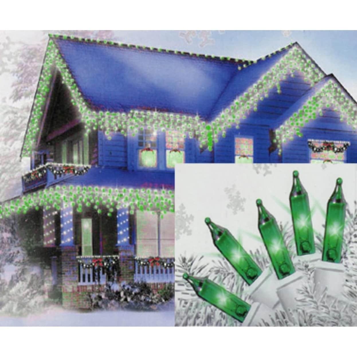 Sienna Set of 100 Green Mini Icicle Christmas Lights - Wh...
