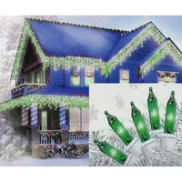 Set of 100 Green Mini Icicle Christmas Lights - White Wire