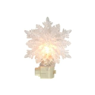 "5.75"" Snowy Winter Decorative Clear Double Snowflake Christmas Night Light