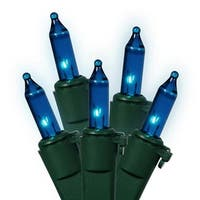 Set of 35 Blue Mini Christmas Lights - Green Wire