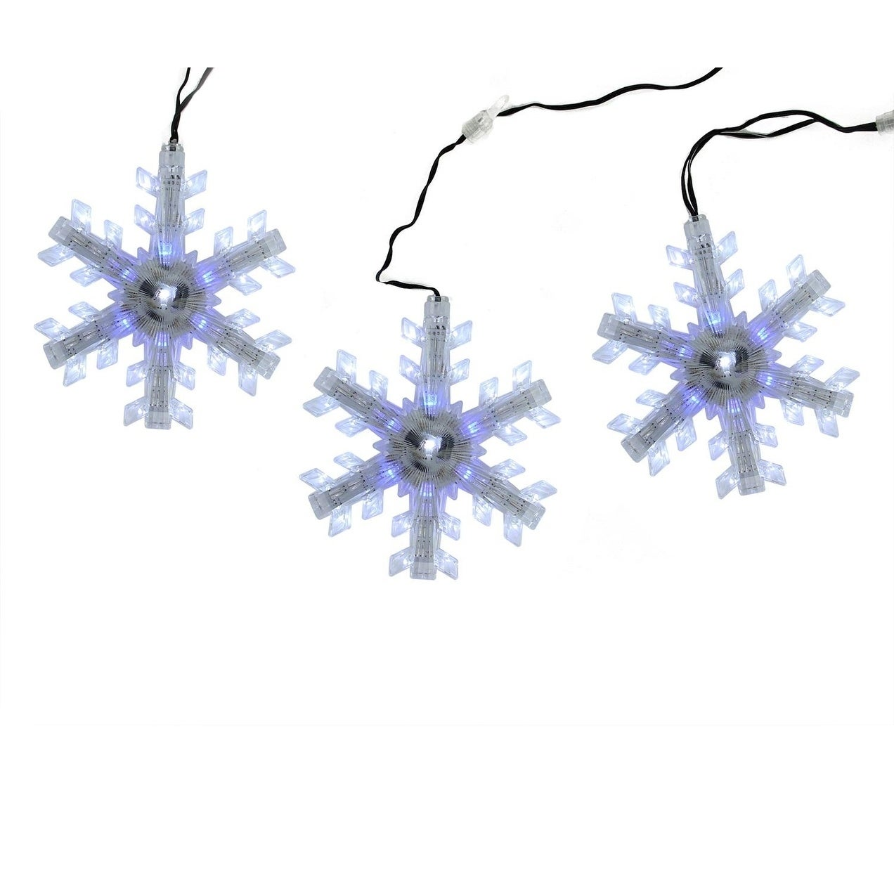 Set of 3 Cascading White and Blue Snowfall LED Snowflake ...