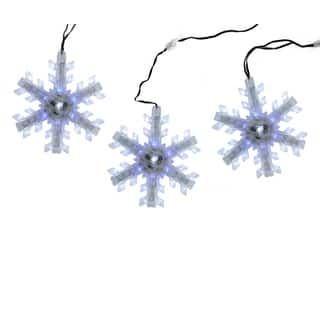 Set of 3 Cascading White and Blue Snowfall LED Snowflake Christmas Lights 6.5"