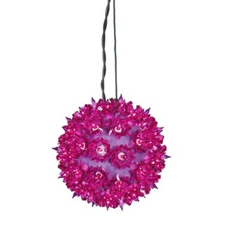 "10"" Fuschia Purple Lighted Twinkling Starlight Sphere Christmas Decoration"