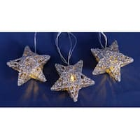Set of 10 Battery Operated Sparkling Silver Glittered Star Christmas Lights on Silver Wire - Clear