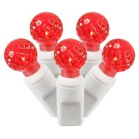 """Set of 100 Red Commercial Grade LED G12 Berry Christmas Lights 4"""" Spacing - White Wire"""