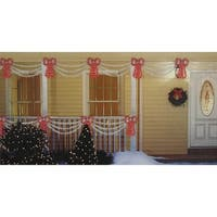 Set of Swag Style Christmas Lights with Red Shimmering Bow - White Wire