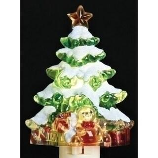 "5.25"" Snowy Christmas Tree with Presents Decorative Christmas Night Light"