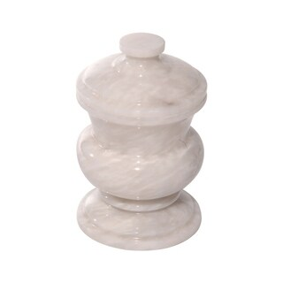 Polished Marble Decorative Cremation Urn with Lid, White