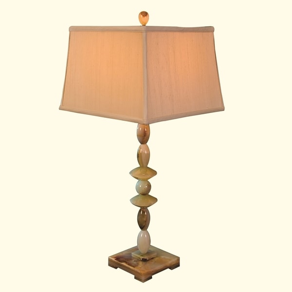 "31"" Tall Onyx Table Lamp ""Admetos"" with Linen Shade, Chartreuse"