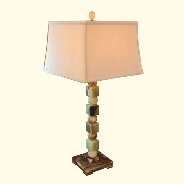 "32"" Tall Onyx Table Lamp ""Labyrinthus"" with Linen Shade, Chartreuse"