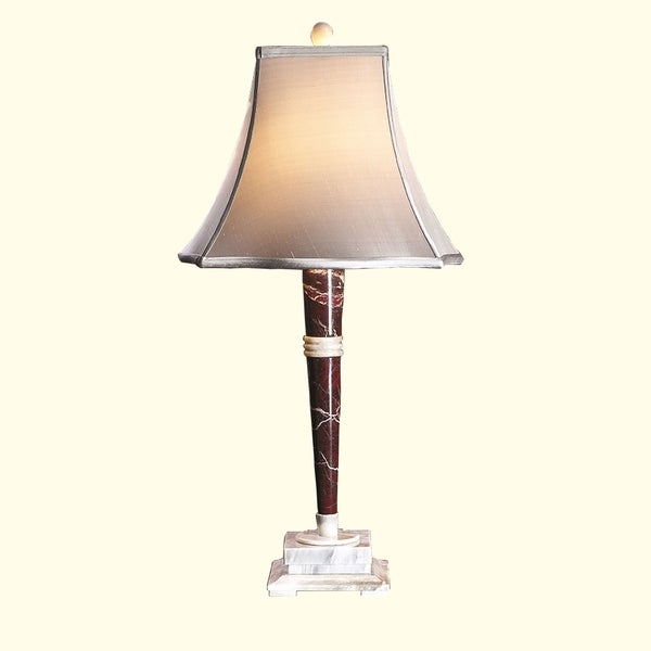 "32"" Tall Marble Table Lamp ""Mercury"" with Linen Shade, Red Zebra and Alabaster"