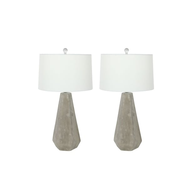 Studio 350 Set of 2, Cement Table Lamp 6 inches wide, 28 inches high