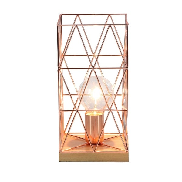 Studio 350 Metal Wood Accent Lamp 6 inches wide, 12 inches high