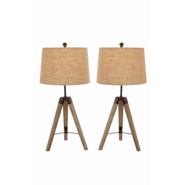 Studio 350 Set of 2, Wood Metal Tripod Table Lamp 31 inches high