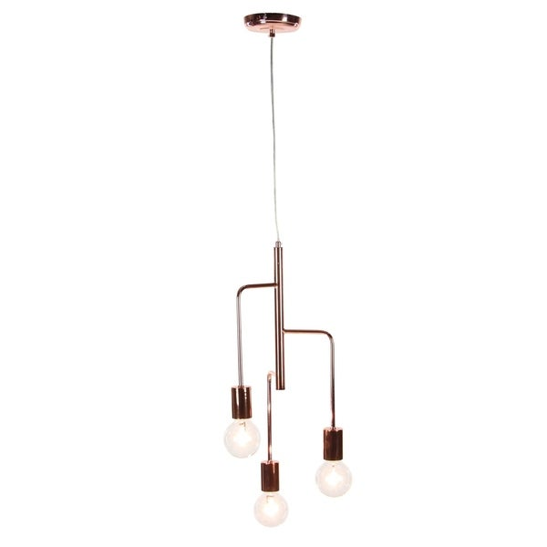 Contemporary 22 X 9 Inch 3-Bulb Metal Pendant Light by Studio 350