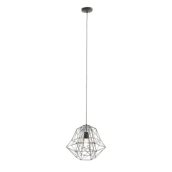 Contemporary 92 Inch Iron Geometric Wire Cage Pendant Lamp by Studio