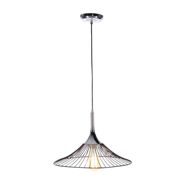 Contemporary 11 Inch Iron Cone-Shaped Pendant with Bulb by Studio 350