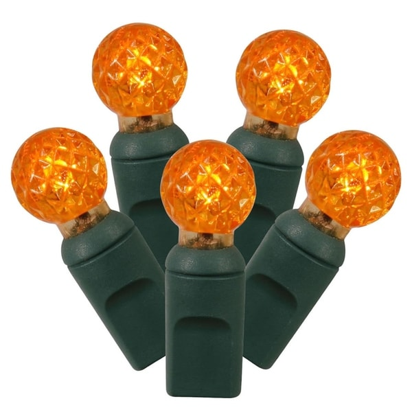 set of 100 orange led g12 berry christmas lights 4 spacing green wire