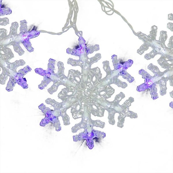 set of 3 led lighted blue and white twinkling dangling snowflake christmas lights