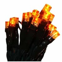 Set of 20 Battery Operated Orange LED Wide Angle Christmas Lights - Green Wire