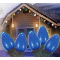 "Set of 25 Opaque Blue C7 Christmas Lights 12"" Bulb Spacing 20 AWG - Green Wire"