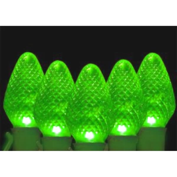 set of 100 faceted transparent green led c7 christmas lights green wire