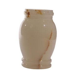 Polished Marble Decorative Cremation Urn with Lid, Chartreuse
