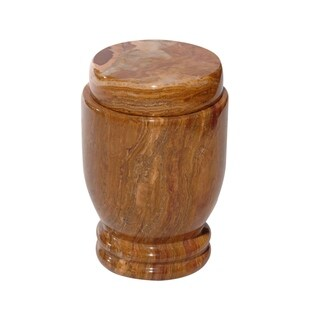 Marble Cremation Urn with Lid, Amber