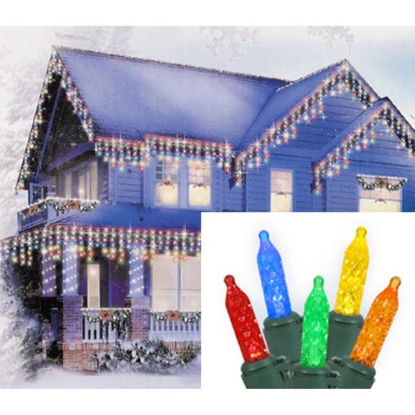 Set Of 70 Multi Color Led M5 Icicle Christmas Lights Green Wire