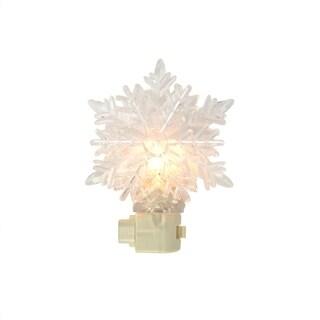 "5.75"" Snowy Winter Decorative Clear Snowflake Christmas Night Light"