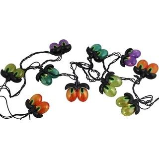 Set of 10 Multi-Color Spooky Eyeball Halloween Lights - Black Wire