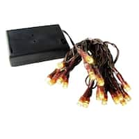 10 Battery Operated Warm White Clear LED Wide Angle Christmas Lights Brown Wire