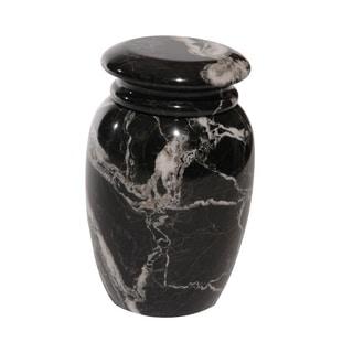 Marble Cremation Urn with Lid, Black Zebra