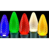Club Pack of 25 Faceted Transparent Multi LED C7 Christmas Replacement Bulbs