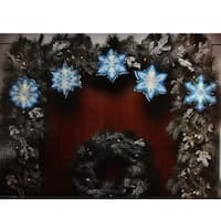 7' Blue and White Shimmering Snowflake Christmas Light Garland with 10 Clear Mini Lights - White Wire