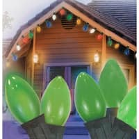 25 Ceramic Style Opaque Green LED Retro Style C7 Christmas Lights - Green Wire