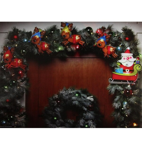 8 shimmering santa claus reindeer christmas light garland with 10 clear