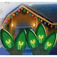 """Set of 25 Transparent Green C9 Christmas Lights 12"""" Spacing - Green Wire"""