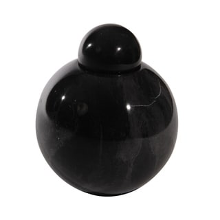 Marble Cremation Urn with Lid, Black