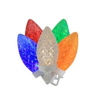 "100 Commercial Length Multi-Color LED Faceted C9 Christmas Lights on Spool 5"" Spacing - White Wire"