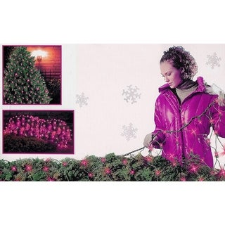 4' x 6' Pink 150 Mini Net Style Christmas Lights - Green Wire 24 Square Feet