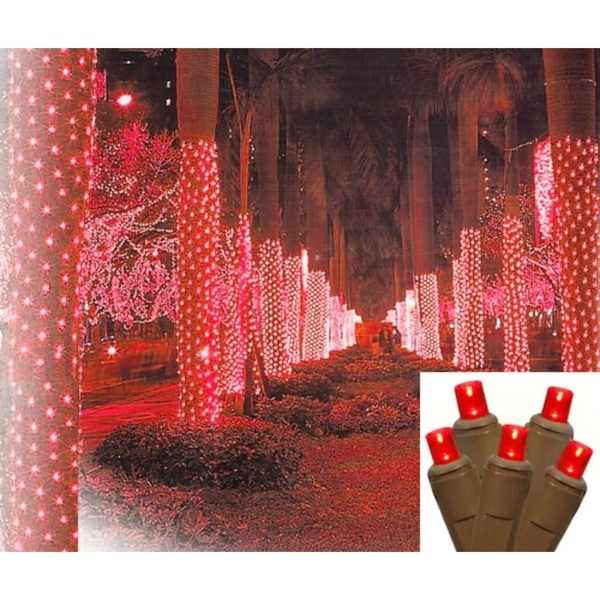 2 X 8 Red Led Net Style Tree Trunk Wrap Christmas Lights Brown Wire Free Shipping Today 17337458