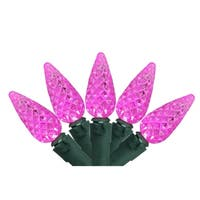 Set of 70 Pink LED C6 Christmas Lights - Green Wire