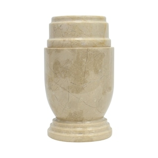 Marble Cremation Urn with Lid, Beige