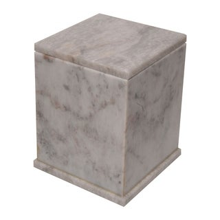Marble Cremation Urn with Lid, Cloud Gray