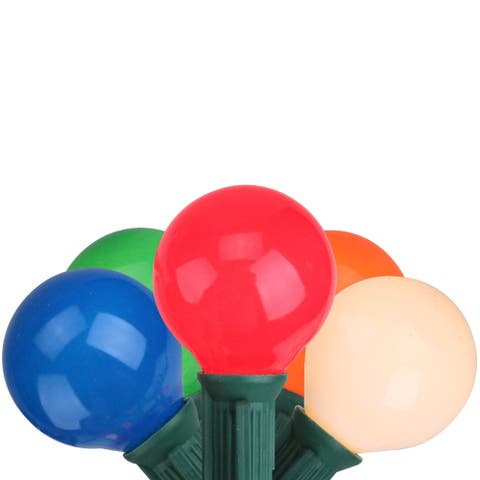 Set of 20 Multi-Color Opaque G50 Globe Christmas Lights - Green Wire