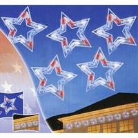 Set of 5 LED Red  White and Blue Patriotic Star Christmas Lights - White Wire