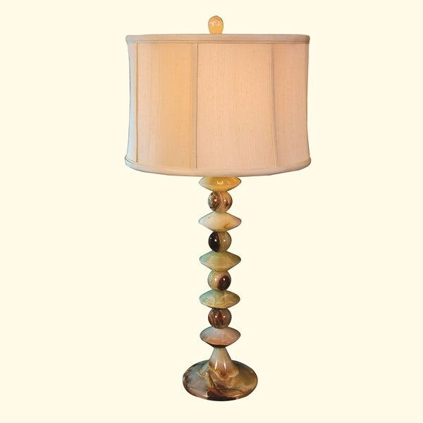 "31.5"" Tall Onyx Table Lamp ""Papillon Nebula"" with Linen Shade, Chartreuse"