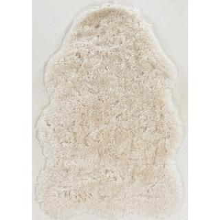 Hand Tufted Faux Lamb Skin Ivory Shag Rug