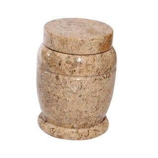 Polished Marble Decorative Cremation Urn with Lid, Fossil